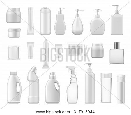Cosmetic Containers And Chemical Plastic Bottles Blank 3d Packages. Vector Cream Jar, Cotton Swabs A