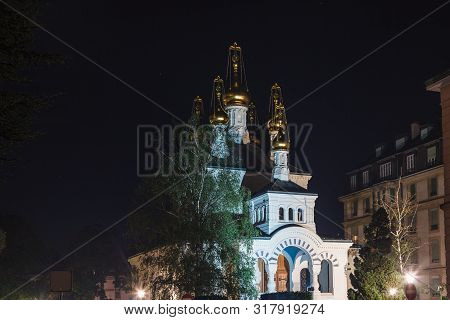Russian Orthodox Church (eglise Russe) With Golden Onion Domes At Beautiful Summer Night, Geneva, Sw