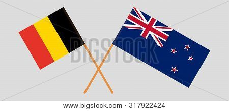 New Zealand And Belgium Flags. Official Colors. Correct Proportion. Vector Illustration