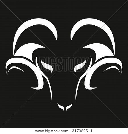 Stylized Ram Silhouette. Silhouette Of White Color Of A Muzzle Of A Ram. Sheep With Horns, Pet. Mode