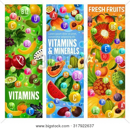 Exotic Fruits And Vitamins, Organic Tropical Fruit Minerals. Vector Healthy Multivitamins In Waterme