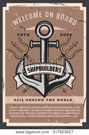 Nautical Ship Anchor Vintage Poster, Marine Sailing Adventure. Vector Neptune Trident, Maritime Ship