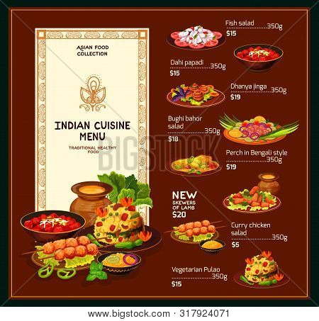 Indian Cuisine Menu, Traditional India Food And Dishes. Vector Dollar Price Menu For Fish Salad, Per
