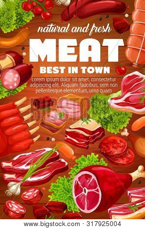 Butcher Shop Meat And Sausages Products Of Pork, Beef And Mutton. Vector Butchery Gourmet Delicatess