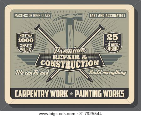 Construction Service And Repair Tools And Equipment Shop Vintage Poster. Vector Carpentry And Woodwo