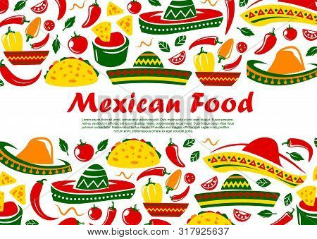Mexican Food Restaurant Menu Cover, Mexico Traditional Cuisine Tacos, Burrito And Quesadilla. Vector