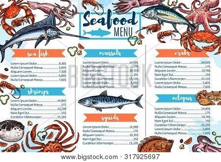 Seafood Restaurant Menu Sketch Cover, Sea Fish And Gourmet Food. Vector Shrimps, Crab Or Lobster Bar
