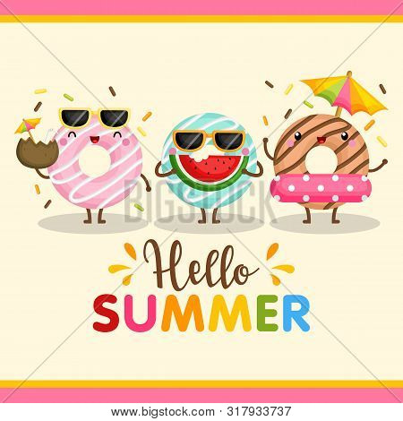 A Cute Card Vector Of Colorful Donut Using Summer Items Happily