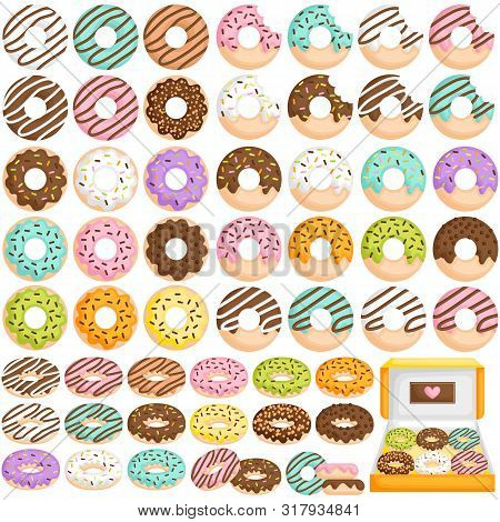 A Vector Set Of Cute Little Donut In Various Flavour And Topping