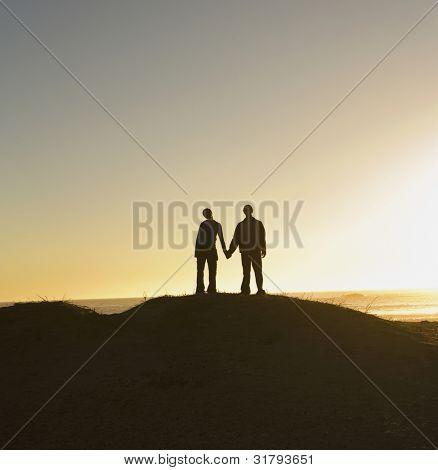 Kontur der paar Holding hände auf Hügel