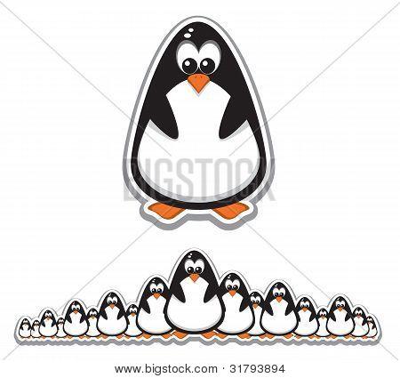 Crowd Of Cute Penguins