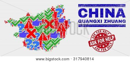 Symbol Mosaic Guangxi Zhuang Region Map And Seal Stamps. Red Round Ask For Help Scratched Seal Stamp