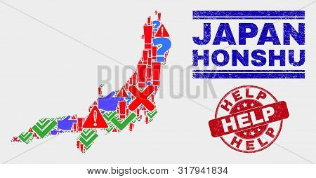 Sign Mosaic Honshu Island Map And Seal Stamps. Red Round Help Grunge Seal Stamp. Colorful Honshu Isl