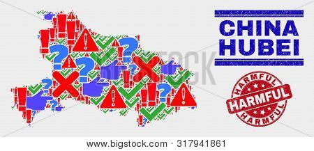 Symbolic Mosaic Hubei Province Map And Seal Stamps. Red Round Harmful Scratched Seal. Colored Hubei
