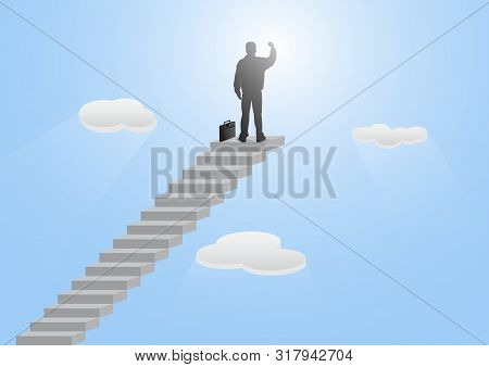 Silhouette Of Businessman Standing On Top Of Stairway With Fist Raised Up On Blue Sky Background, Su
