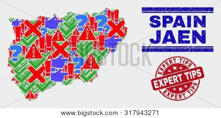 Symbolic Mosaic Jaen Spanish Province Map And Seal Stamps. Red Rounded Expert Tips Distress Seal Sta