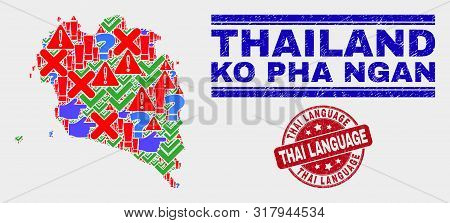 Sign Mosaic Ko Pha Ngan Map And Seal Stamps. Red Rounded Thai Language Scratched Seal Stamp. Colorfu