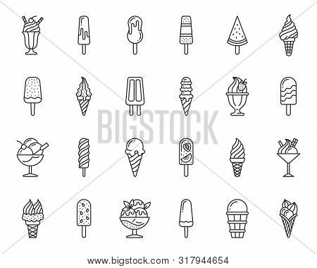 Ice Cream Thin Line Icons Set. Outline Web Sign Kit Of Icecream. Cone Sundae Linear Icon. Summer Swe