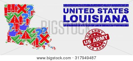 Sign Mosaic Louisiana State Map And Seal Stamps. Red Round Us Army Grunge Seal. Bright Louisiana Sta