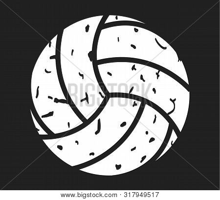 Volleyball Distressed Icon On Black Background. Flat Style. Volleyball Sign For Your Web Site Design