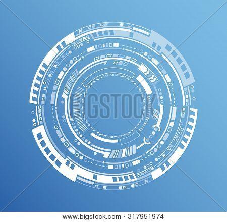 Circular Technology Background Design Vector Illustration. Futuristic Scientific Interface. Hi Tech