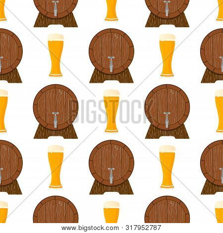 Illustration On Theme Big Colored Pattern Oktoberfest, German Holiday It Fest Beer. Pattern Consisti