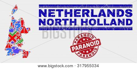 Symbolic Mosaic North Holland Map And Seal Stamps. Red Rounded Paranoid Distress Seal Stamp. Colored