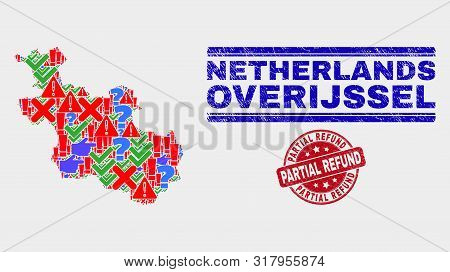 Sign Mosaic Overijssel Province Map And Seals. Red Round Partial Refund Textured Seal Stamp. Colored
