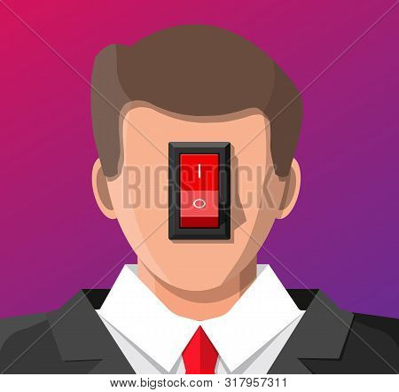 Businessman With Power Switch In Head. Switcher Turns On Brain For Good Ideas. Selector For Producti