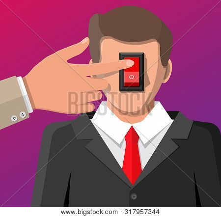 Businessman With Power Switch In Head And Hand. Switcher Turns On Brain For Good Ideas. Selector For