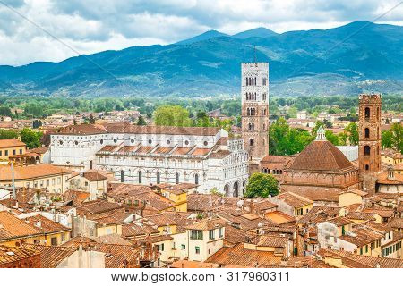 Top View Of The Lucca City In Tuscany, Italy, Europe.