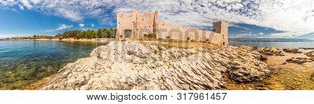 Panorama View Of Kastelina Castle, Fortress Ruins On Vir Island, Croatia, Europe.
