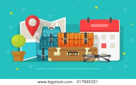 Travel Or Trip Destination Planning And Schedule Date Vector Illustration, Flat Cartoon Map Route Wi