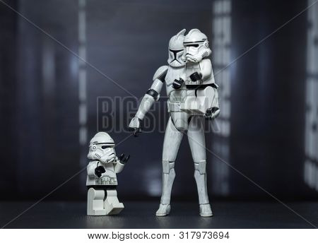 AUG 18 2019: Star Wars Take your child to work day concept with Clone Troopers  - Hasbro and Lego figures used