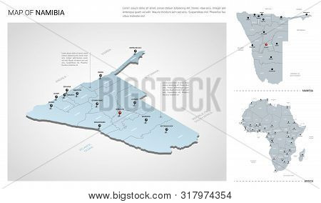 Vector Set Of Namibia Country.  Isometric 3d Map, Namibia Map, Africa Map - With Region, State Names