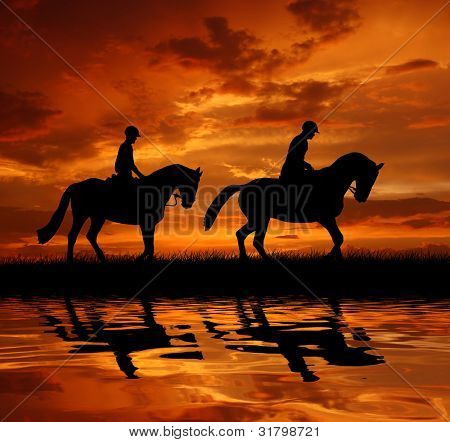 silhouette of a riders on a horse poster