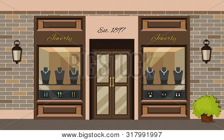Jewerly Shop Store Facade With Storefront Vector