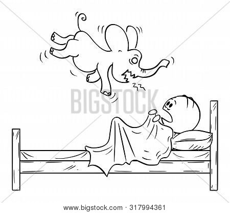 Vector Cartoon Stick Figure Drawing Conceptual Illustration Of Frightened Man In Bed Hiding From His