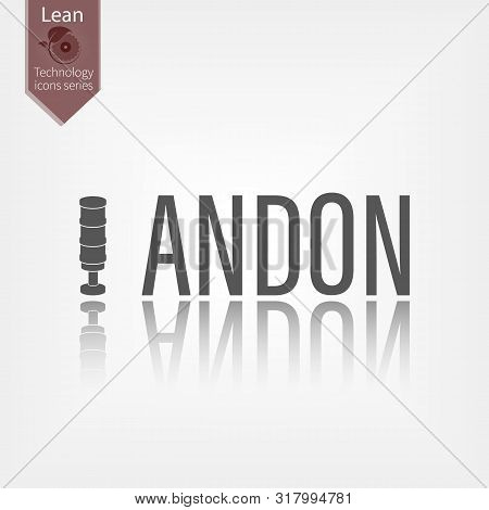 Andon Word Vector Illustration. Lean Manufacturing Tool Icon