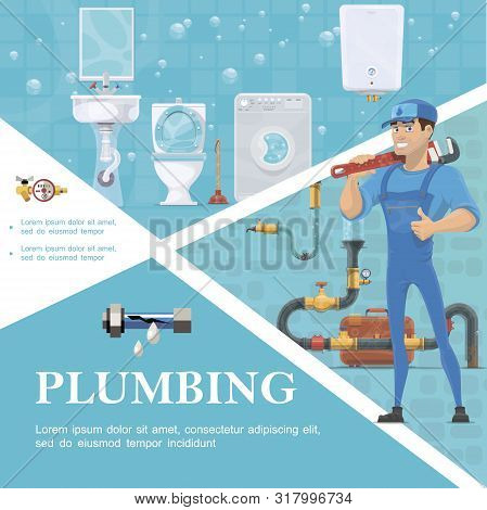 Cartoon Plumbing Service Template With Plumber Holding Pipe Wrench Washbasin Toilet Plunger Washing