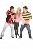 Two guys try to share one girl isolated on white poster