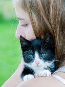 Best friends - lovely teenage girl with cute kitten poster