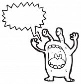 crazy alien cartoon character poster