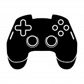 Gaming joystick glyph icon. Esports equipment. Computer gamepad. Game device. Silhouette symbol. Negative space. Vector isolated illustration poster