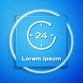 White Clock 24 hours icon isolated on blue background. All day cyclic icon. 24 hours service symbol. Blue square button. Vector Illustration poster