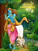 Vector design of Lord Krishna playing bansuri flute on Happy Janmashtami holiday festival background poster