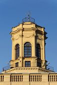 Small turret on top of old building in Minsk, Belarus. Soviet architecture, Stalin's Empire style. poster