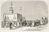 Ulamas meeting in El.Gujsr mosque, Egypt. Created by Godefroy-Durand, published on L'Illustration, Journal Universel, Paris, 1863 poster
