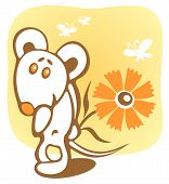 Cheerful mouse and flower on a yellow background. poster