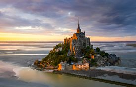 Mont Saint-michel View In The Sunset Light. Normandy, France
